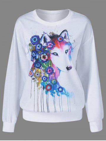 Buy Fox Pattern Drop Shoulder Sweatshirt