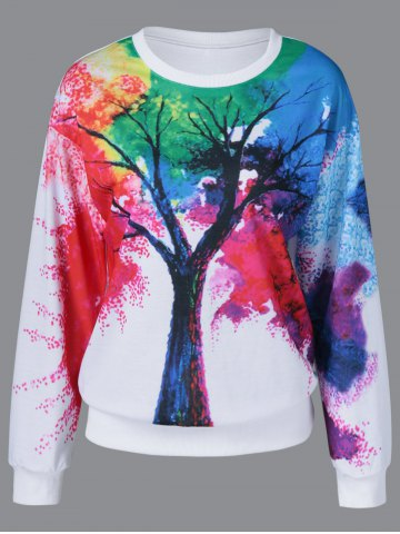 Affordable Tie-Dye Tree Pattern Sweatshirt WHITE M