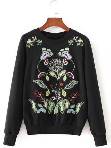 Shops Crew Neck Flower Embroidered Pullover Knit Sweater