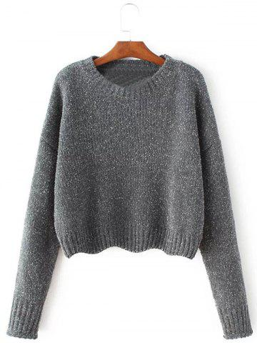 Crew Neck Pullover Knit Sweater - GRAY S