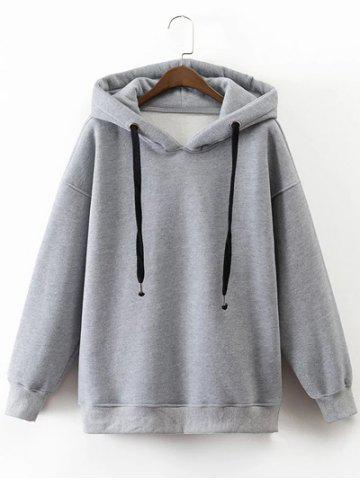 Fashion Drawstring Drop Shoulder Pullover Flocking Hoodie