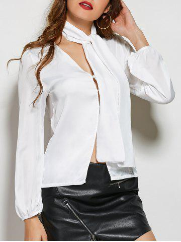 Outfits Long Sleeve Single-Breasted Blouse with Scarf