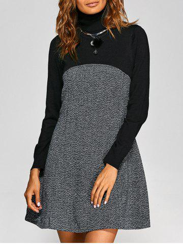 Turtle Neck Knit-Paneled Textured Dress - BLACK XL