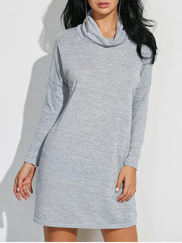 Cheap Cowl Neck Heathered Shift Dress LIGHT GRAY XL