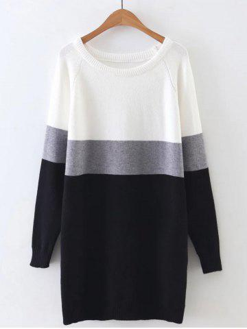 Best Long Sleeve Color Block Mini Sweater Dress