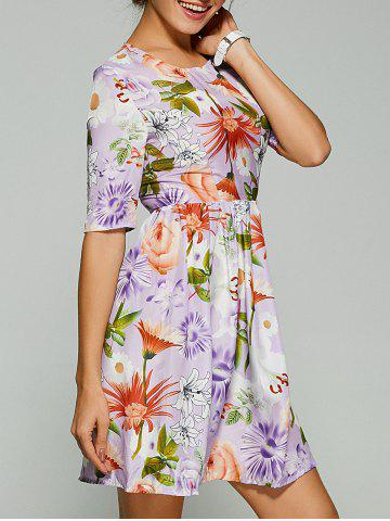 Various Floral Fit and Flare Dress - LIGHT PURPLE XL