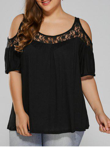 Sale Plus Size Lace Insert Cut Out T-Shirt BLACK 2XL