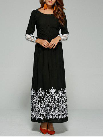 Affordable Lace Trim Sleeve Maxi Dress