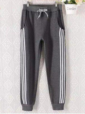 Shops Casual Plus Size Drawstring Striped Sweatpants