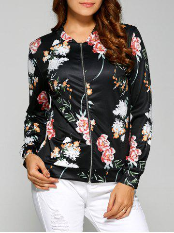 Online Floral Print Zippered Jacket