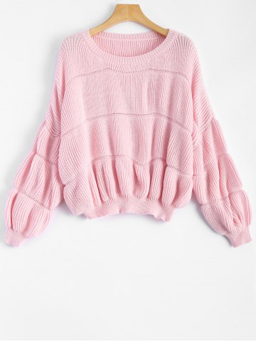 Affordable Drop Shoulder Ribbed Pullover Sweater PINK ONE SIZE