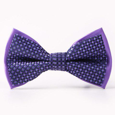 Online Small Tartans Pattern Double-Deck Bow Tie PURPLE