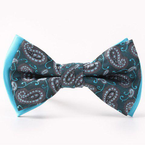 Fashion Ethnic Style Pattern Double-Deck Bow Tie LAKE BLUE