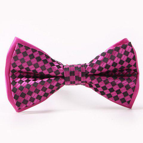 Plaids Pattern Double-Deck Bow Tie - ROSE MADDER