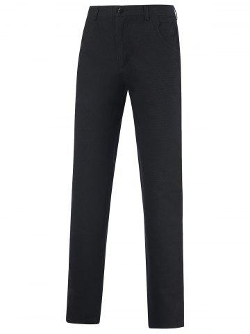Casual Zipper Fly Straight Leg Tailored Pants - Black - 30