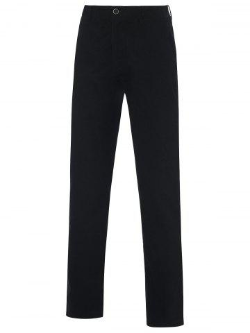 Outfit Zipper Fly Straight Leg Casual Chino Pants BLACK 42