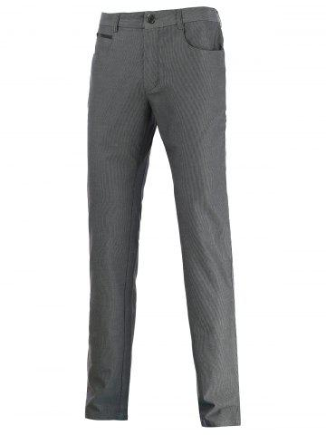 Zip Pocket Mid Rise Straight Casual Pants - GRAY 37