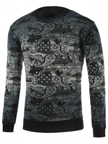 Discount Paisley Pattern Ombre Crew Neck Knitwear