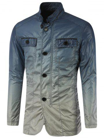 Stand Collar Pockets Front Button Up Ombre Jacket - Blue - M