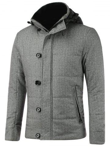 Best Button Embellished Zippered Hooded Texture Padded Jacket GRAY 2XL