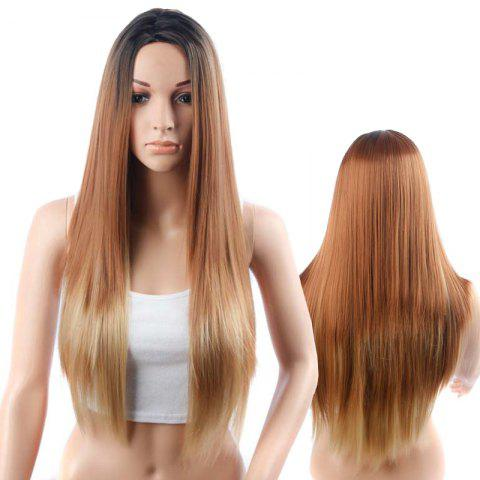 Fashion Long Side Parting Straight Coffee Mixed Black Synthetic Wig