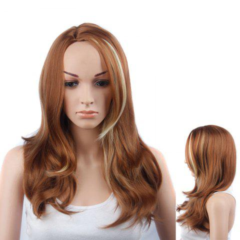 Cheap Long Side Parting Asymmetric Slightly Curled Gold Highlights Synthetic Wig