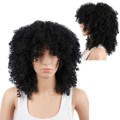 Chic Medium Fluffy Afro Curly Capless Full Bang Synthetic Wig