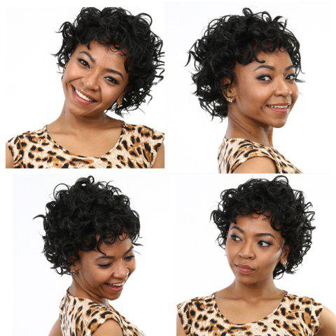 Trendy Vogue Short Shaggy Curly Side Bang Synthetic Wig BLACK
