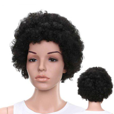 Shop Short Fluffy Afro Curly Capless Full Bang Synthetic Wig BLACK BROWN