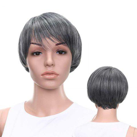 Unique Graceful Short Side Bang Straight Mixed Color Synthetic Hair Wig