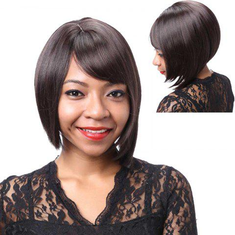Cheap Graceful Short Side Bang Asymmetric Straight Synthetic Wig DEEP BROWN