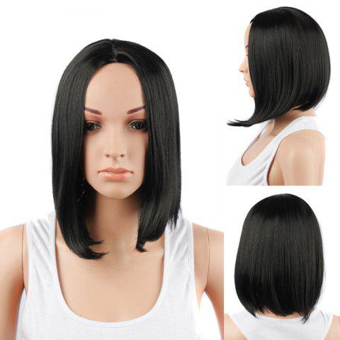 New Medium Centre Parting Straight Synthetic Hair Wig BLACK