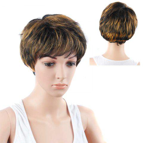 Trendy Short Full Bang Straight Mixed Color Synthetic Wig COLORMIX