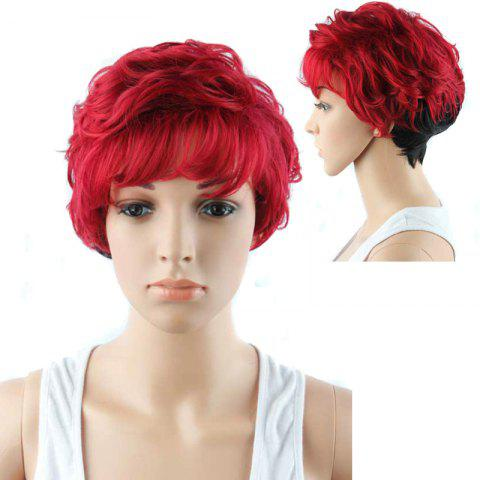 Shop Short Full Bang Wavy Ombre Color Synthetic Wig RED WITH BLACK