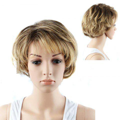 Best Graceful Short Double Color Side Bang Slightly Curled Synthetic Wig