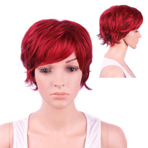 Discount Short Side Bang Slightly Curled Synthetic Wig WINE RED
