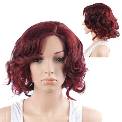 Trendy Vivid Short Side Parting Curly Synthetic Wig WINE RED
