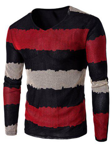 Outfit V Neck Long Sleeve Striped T Shirt RED 5XL