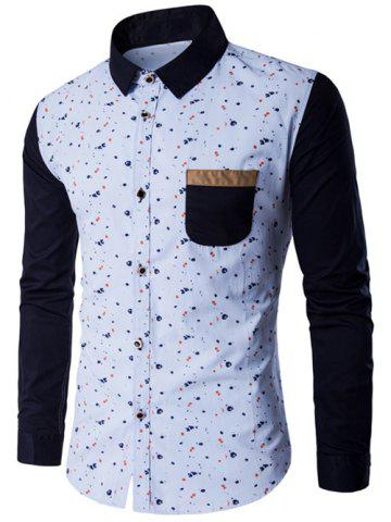 Outfit Contrast Insert Chest Pocket Printed Shirt BLUE 5XL