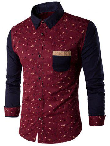 Latest Contrast Insert Chest Pocket Printed Shirt RED M