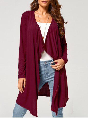 Shop Long Duster Draped Cardigan WINE RED XL