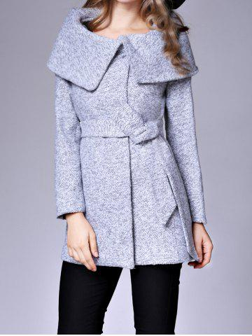 Hot Cape Coat With Belt LIGHT GRAY M