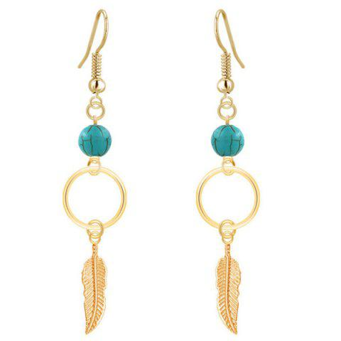 Leaf Turquoise Bead Drop Earrings - Golden - One-size