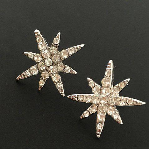Best Rhinestone Floral Stud Earrings GOLDEN