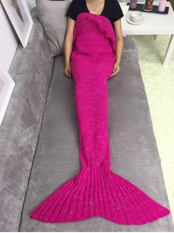 Super Soft Sleeping Bag Mermaid Knitted Blanket - ROSE RED