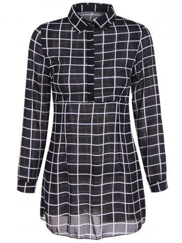 Buttoned Gingham Long Sleeve Dress - BLACK M