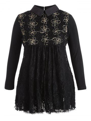 Outfit A-Line Long Sleeve Lace Plus Size Dress BLACK 4XL