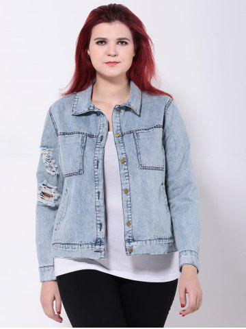 New Broken Hole Double Pockets Ripped Jean Jacket - 4XL LIGHT BLUE Mobile