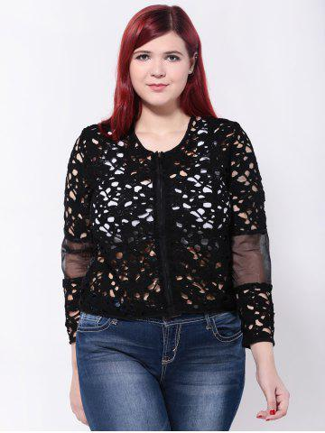 Fancy Openwork Mesh Patchwork Jacket BLACK 5XL