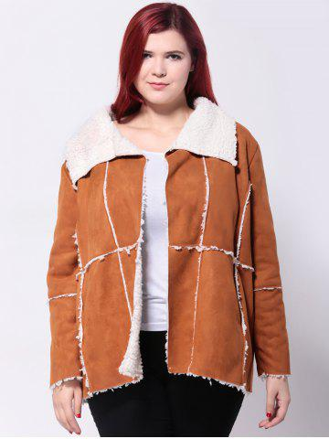 Latest Faux Suede Spliced Jacket CAMEL 5XL